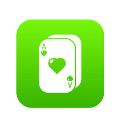 poker cards icon green vector image