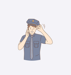 policeman during work concept vector image