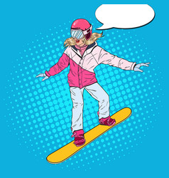 Pop art woman snowboarder on the slopes vector