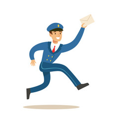 Postman in blue uniform running delivering mail vector