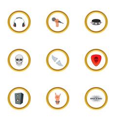 rock music icons set cartoon style vector image