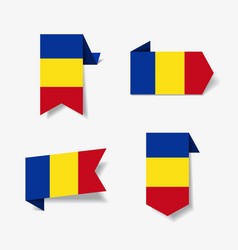 Romanian flag stickers and labels vector