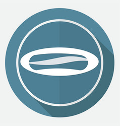 sausage icon on white circle with a long shadow vector image