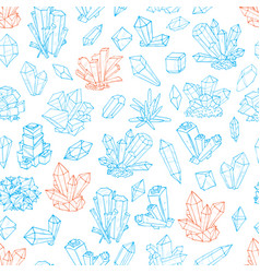 seamless background with blue and orange doodle vector image