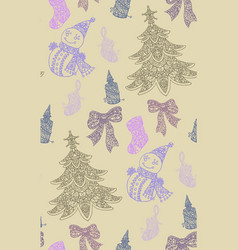 Seamless pattern with christmas objects vector