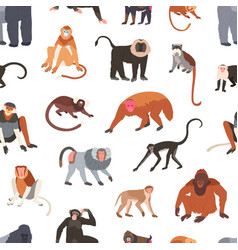 Seamless pattern with different species monkeys vector