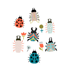 set creative hand drawn bugs colorful insects vector image