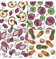 set four seamless patterns with bright doodle vector image