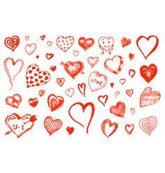 set hearts doodle valentine love symbol vector image