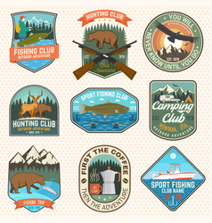 Set hunting and fishing club patches vector