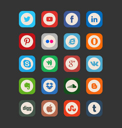 Set of most popular social media icons pinterest vector