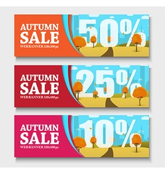 Set of web banners with autumn landscape for sales vector