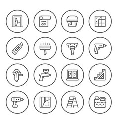 set round line icons of repair vector image