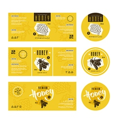 Set templates label for honey vector