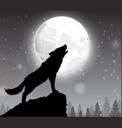 Silhouette a wolf standing on a hill vector