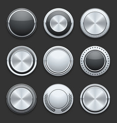 Silver metal chrome buttons set vector image