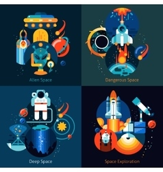 Space Flat Set vector image