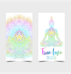 stretch and strength yoga card design colorful vector image