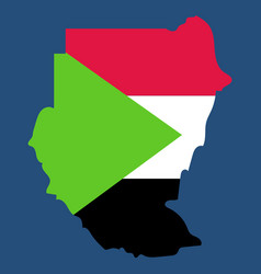 sudan flag and map on the gray background vector image