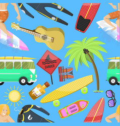 summer icons seamless pattern vacation on seaside vector image