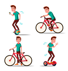 Teen boy riding hoverboard bicycle city vector