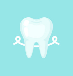 Tooth with a floss cute colorful icon vector
