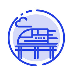 Train bullet transport blue dotted line line icon vector