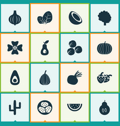 vegetable icons set with beet pumpkin sorrel and vector image
