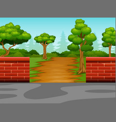 View of the dirt road to the forest vector