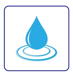 Water drop icon with wave 6 vector image