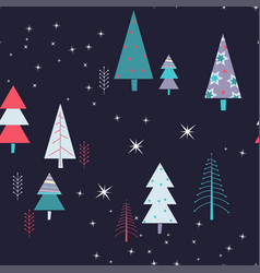 winter night seampless pattern with purple and vector image