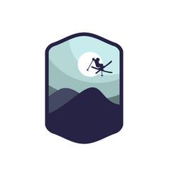 Winter sport ski silhouette badge logo emblem vector