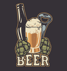 with a bottle beer and hop cones vector image