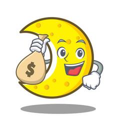 With money bag crescent moon character cartoon vector