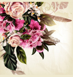 with realistic rose and peony flowers vector image