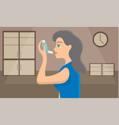 woman using a spray inhaler to stop asthma attack vector image