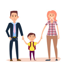 Young parents holds little schoolboy by hands vector