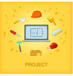 building process concept cellphone cartoon style vector image
