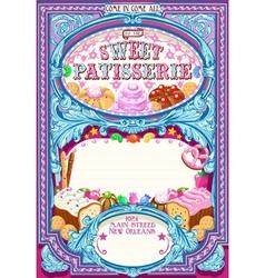 Candy Shop Invitation Vintage vector image