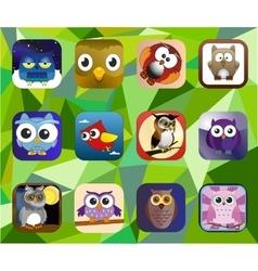 Cartoon baby owl set vector image