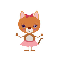 Colorful caricature of cute expression female cat vector