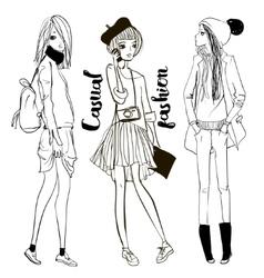 cute cartoon girls vector image