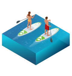 isometric paddleboard beach men and women on stand vector image