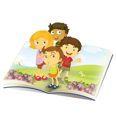 Kids on a Book vector image vector image