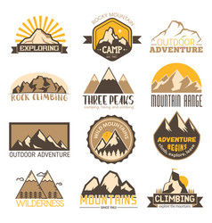 mountain outdoor travel icons set vector image