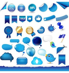 Big Set From Objects Of Blue Color vector image vector image