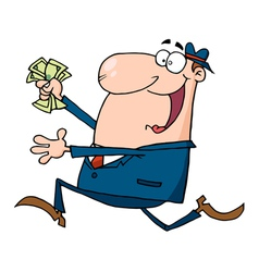 Businessman Running With Dollars In Hand vector image vector image