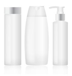 Set of plastic bottles Cosmetic packaging vector image