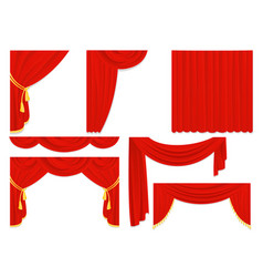 set of red silk curtains vector image