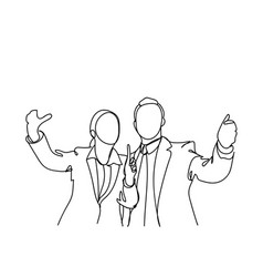 silhouette of business man and woman hand vector image